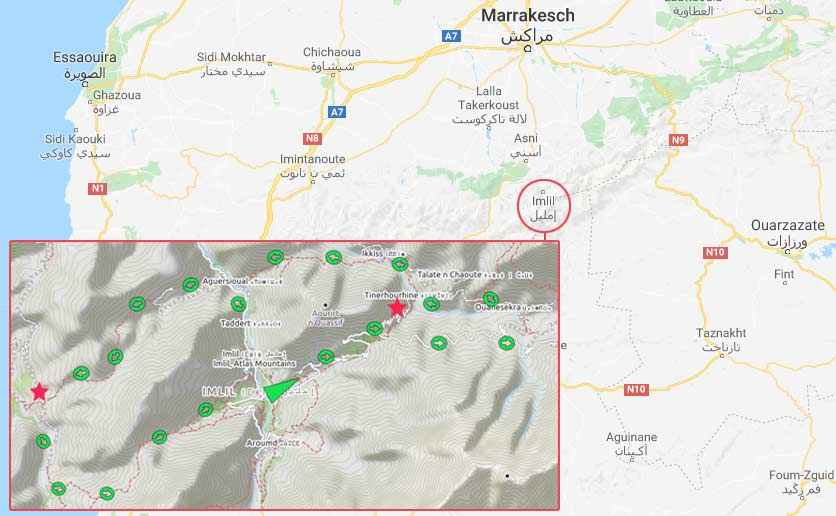 Route of our trekking tour in the Atlas Mountains