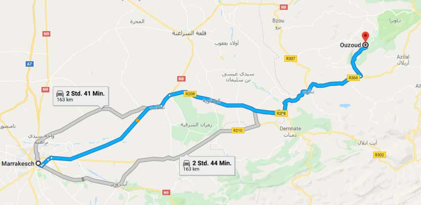 How to get from Marrakech to Ouzoud by car