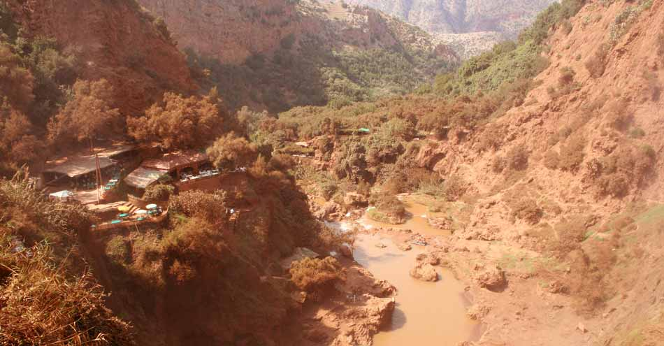 Valley under the Ouzoud waterfalls in Morocco