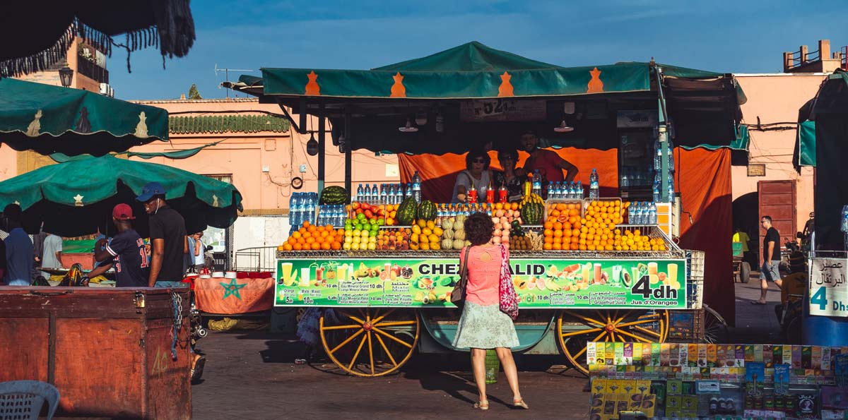 juice stalls on Jemaa el Fna in Marrakech