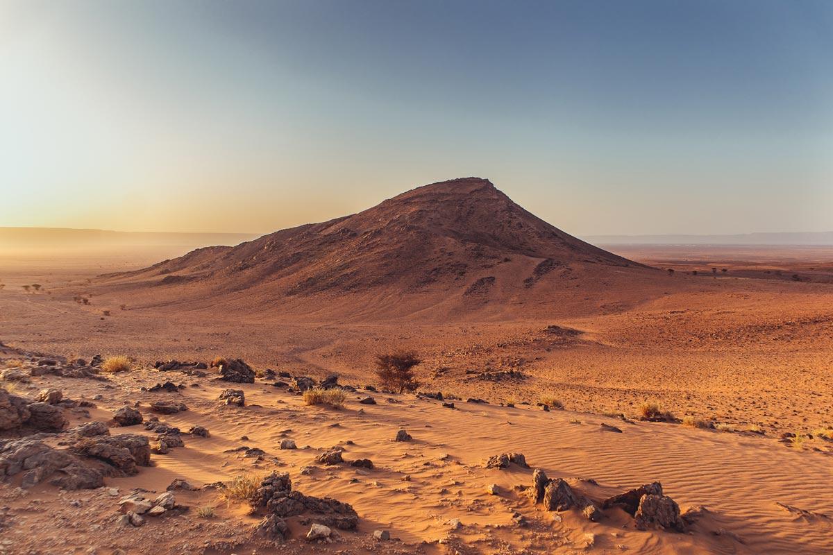 Sunrise in the desert near Zagora, Morocco