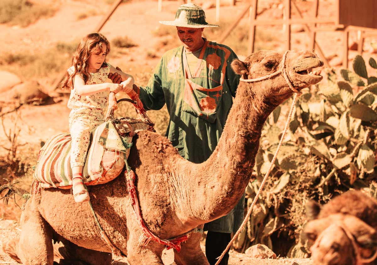 camel rides with children Marrakech