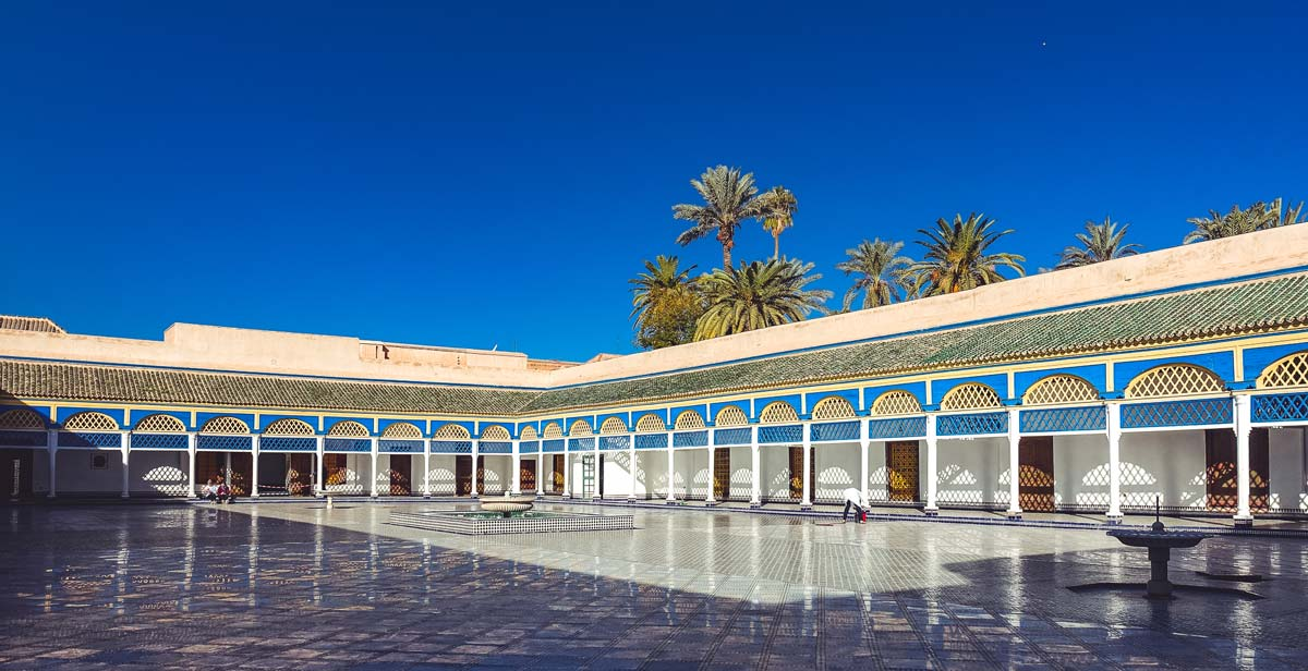 Large courtyard in Bahia Palace Marrakech