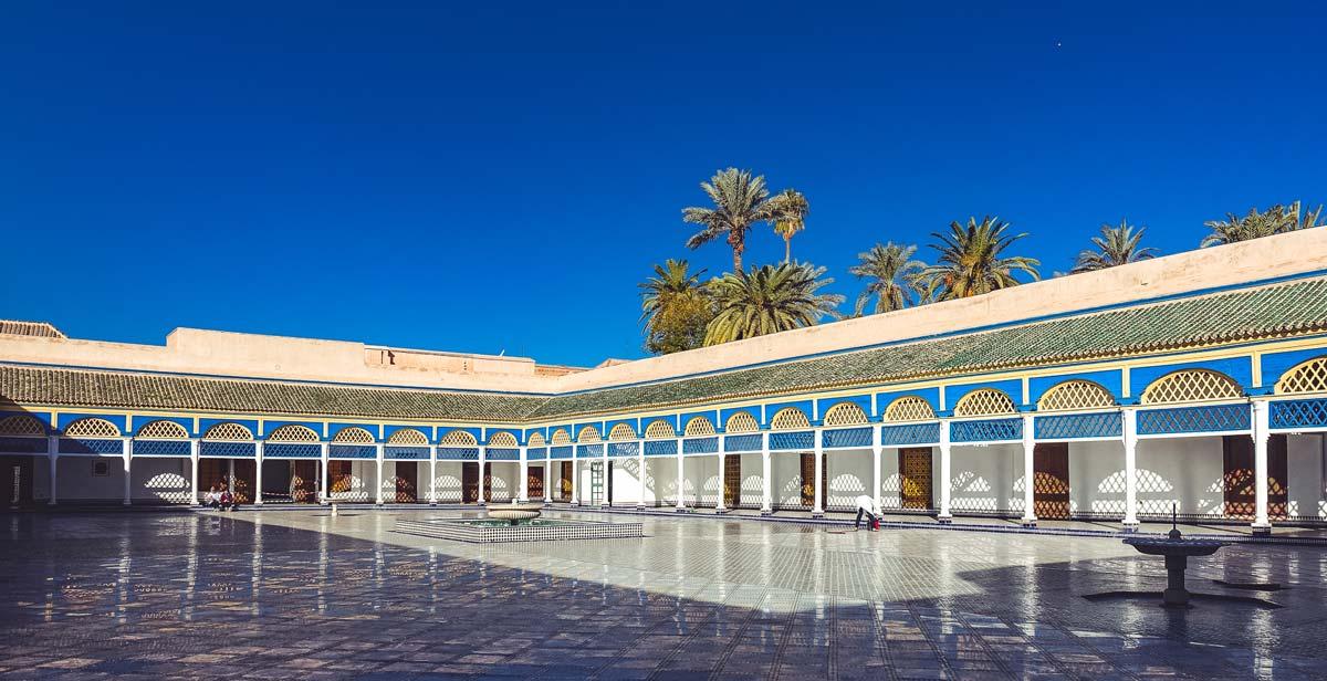 Large courtyard in Bahia Palace Marrakech