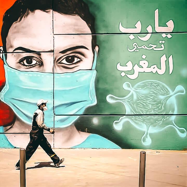 Covid street art Morocco